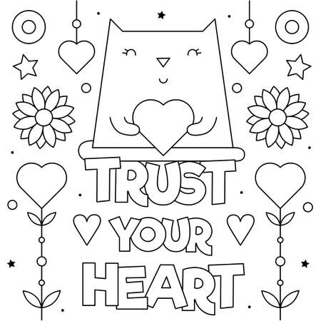 Trust your heart. Coloring page. Vector illustration of a cat.