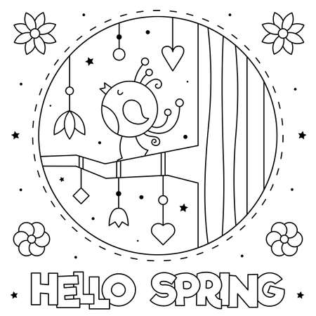 Hello Spring. Coloring page. Black and white vector illustration.