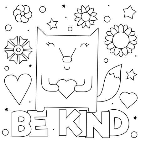 Be kind. Coloring page. Vector illustration of fox.