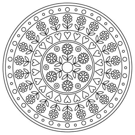 Mandala. Coloring page. Black and white vector illustration.