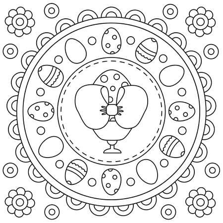 Black and white vector illustration of eggs. Mandala