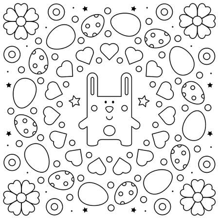 Black and white vector illustration of a rabbit.