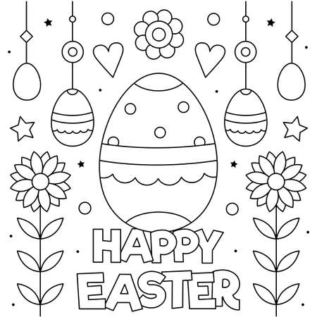Happy Easter. Coloring page. Vector illustration of eggs.