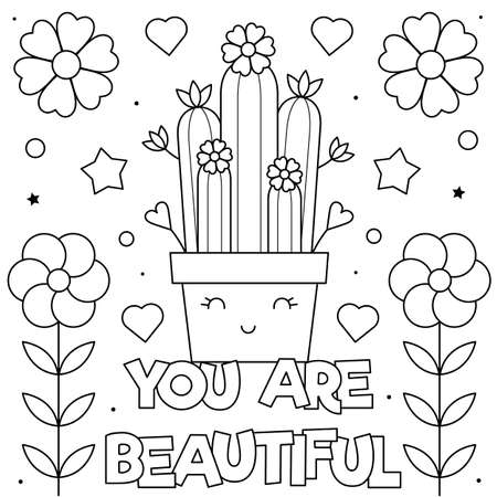 You are beautiful. Coloring page. Vector illustration of flowers.