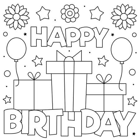 Happy Birthday. Coloring page. Vector illustration of presents. Ilustração