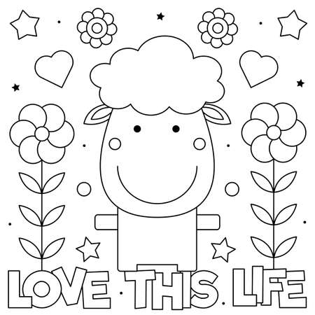 Love this life. Coloring page. Vector illustration of a sheep and flowers. Ilustração