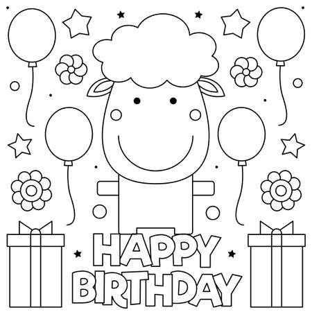 Happy Birthday. Coloring page. Vector illustration of sheep, presents and balloons.