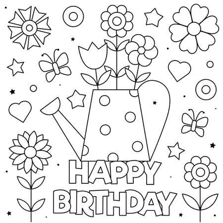 Happy Birthday. Coloring page. Vector illustration of flowers. Ilustração