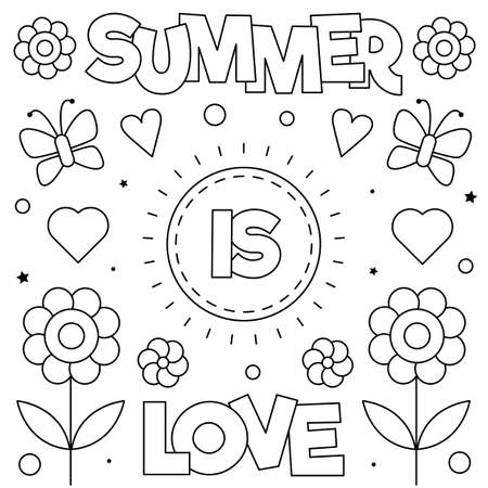 Summer is love. Coloring page. Black and white vector illustration.