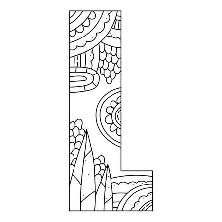 Alphabet coloring page. Capital letter. Vector illustration.