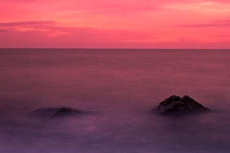Twilight on sunset beach