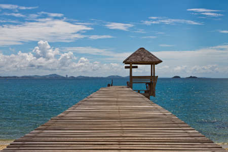 koh samet: Wooden pier at Koh Samet,Thailand Stock Photo
