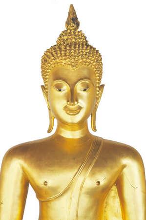Buddha Art ancient Sukhothai over 700 years ago isolate on white background Stock Photo