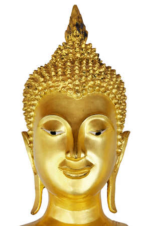 Head Of Buddha Art ancient Sukhothai over 700 years ago isolate on white background