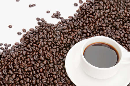 coffee cup on coffee bean background Stock Photo