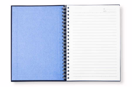 blue cover of open blank page note book isolate on white background