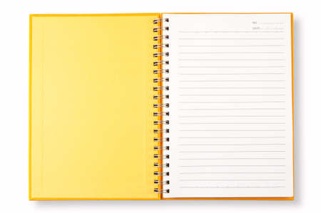yellow cover of open blank page note book isolate on white background  Stock Photo