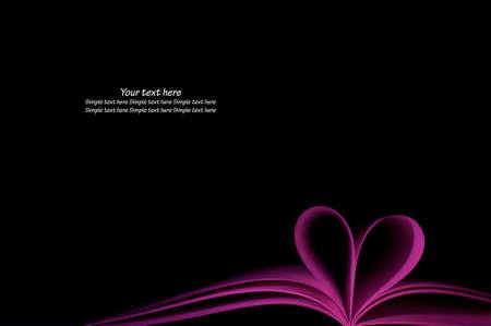 livre blanc pourpre pages courbé forme coeur modifiée sur fond noir