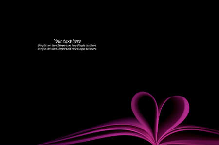 purple blank book pages curved modified heart shape on black background