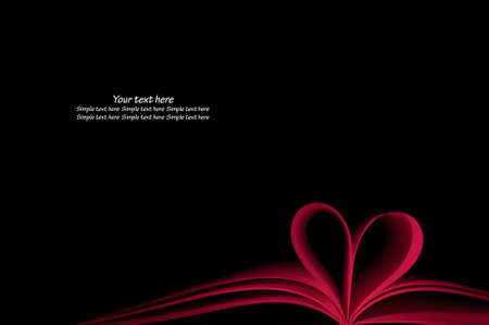 red blank book pages curved modified heart shape on black background