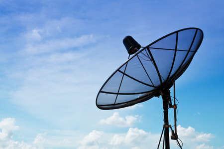 Satellite Dish With Blue Sky  Stock Photo