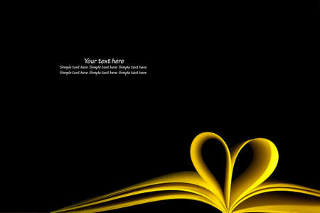 yellow blank book pages curved modified heart shape on black background