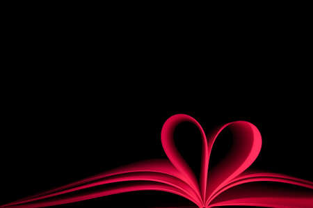 blank pages of red book curved modified in to heart shape Stock Photo