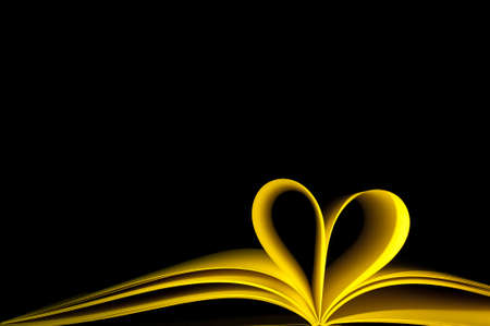 blank pages of yellow book curved modified in to heart shape