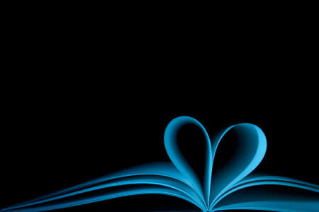 blank pages of blue book curved modified in to heart shape