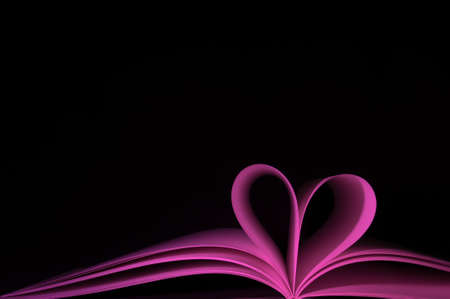 blank pages of purple book curved modified in to heart shape