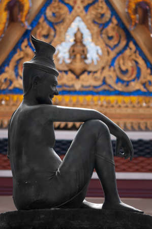 Statue Of Hermit Located in front of Temple, Wat Phra Keaw, Bangkok Thailand photo