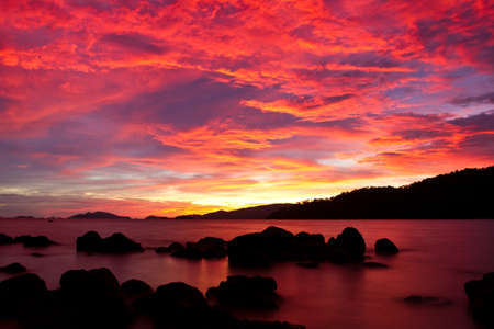sunset on Andaman sea, Thailand photo