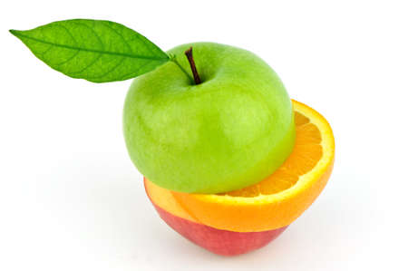 apple and orange cut in stack on white background