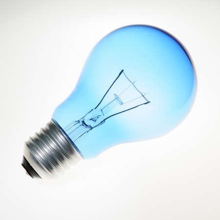 blue light blub on white background Stock Photo