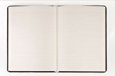 Open blank page notebook on white background Stock Photo
