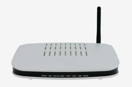 White modem with wifi antenna isolated on white background