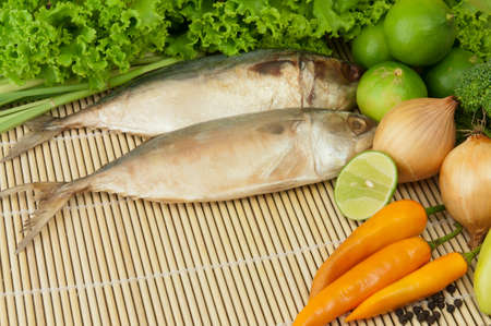 fish and group of ingredient vegetable
