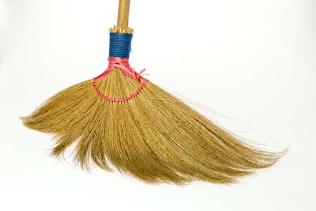 Close up head broom on white background Stock Photo