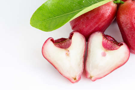 Shape of rose apple or chomphu look like heart on white background