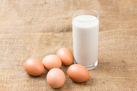 Soybean milk one glass and eggs