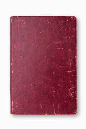 Grunge red cover notebook on white background