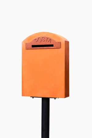 Orange vintage malbox isolated on white background