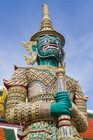 Giant statue in Wat Phra Kaew, Temple in Bangkok Thailand
