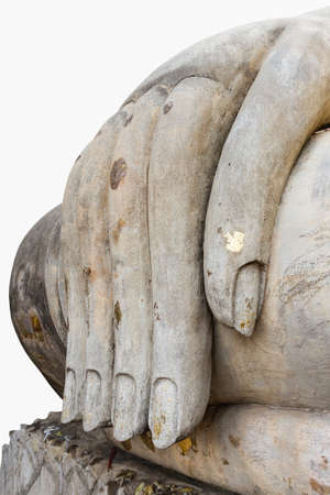 Hand of Buddha statue isolated on white background