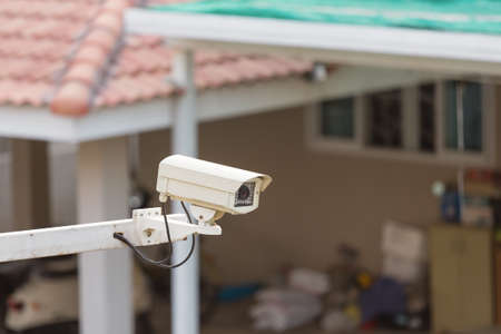 Sequrity Camera was installed in the village Stock Photo