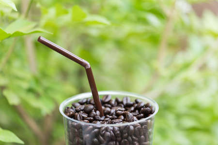 Close up of coffee  bean in glass against green leaf background Stock Photo