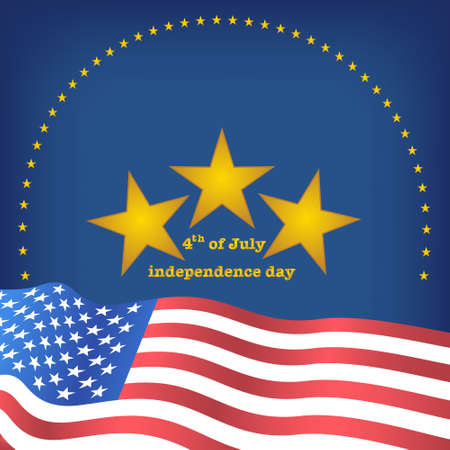 Golden star place above flag of USA on Blue background