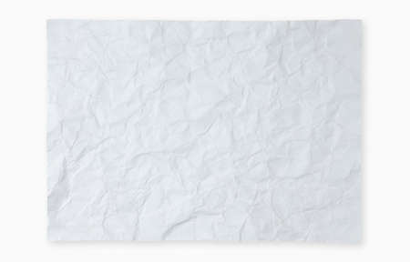 Crumpled white paper isolated on white background