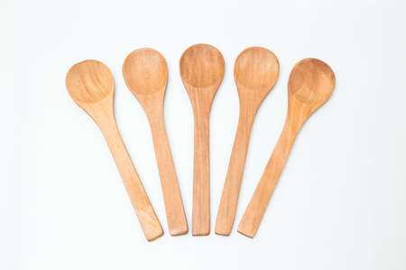 Group of wooden spoon on white background