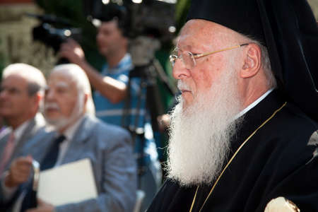 saintliness: THESSALONIKI, GREECE - OCTOBER 7  Ecumenical Patriarch Bartholomew, the leader of the Orthodox Christian Church visited the city of Thessaloniki on Oct 7, 2011 in Thessaloniki, Greece
